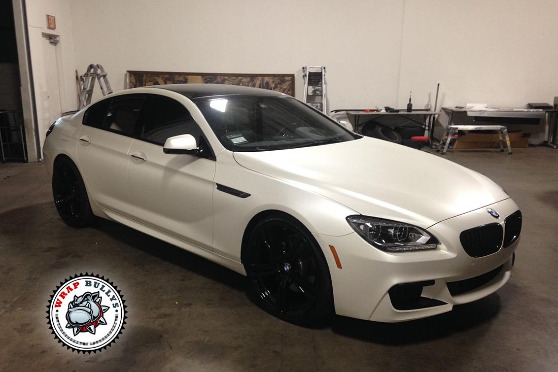 BMW M6 Gran Coupe Car Wrap   Satin Pearl White