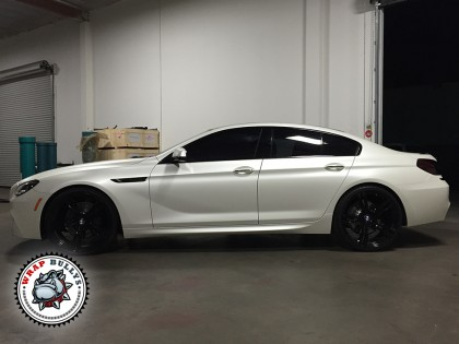 BMW M6 Gran Coupe Wrapped in 3M Satin Pearl White