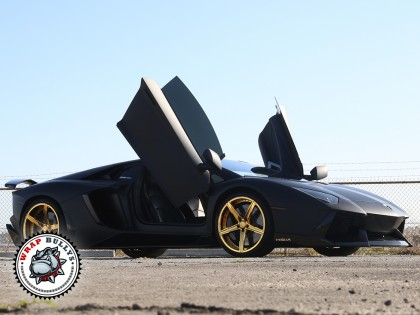 Lamborghini Aventador Wrapped in 3M Deep Matte Black Car Wrap