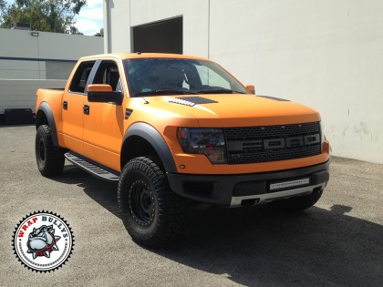 Ford Raptor SVT Wrapped in 3M Matte Orange Truck Wrap