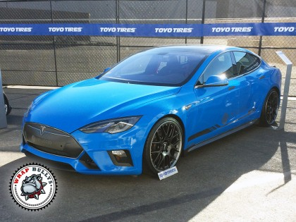 Tesla Wrapped in 3M Gloss Intense Blue Car Wrap