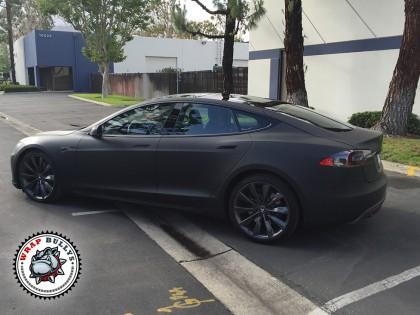 Tesla Wrapped in 3M Deep Matte Black Car Wrap