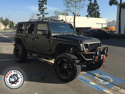 Jeep Wrangler Rubicon  Wrapped in 3M Matte Black Wrap