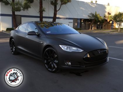 Deep Matte Black Tesla Car Wrap