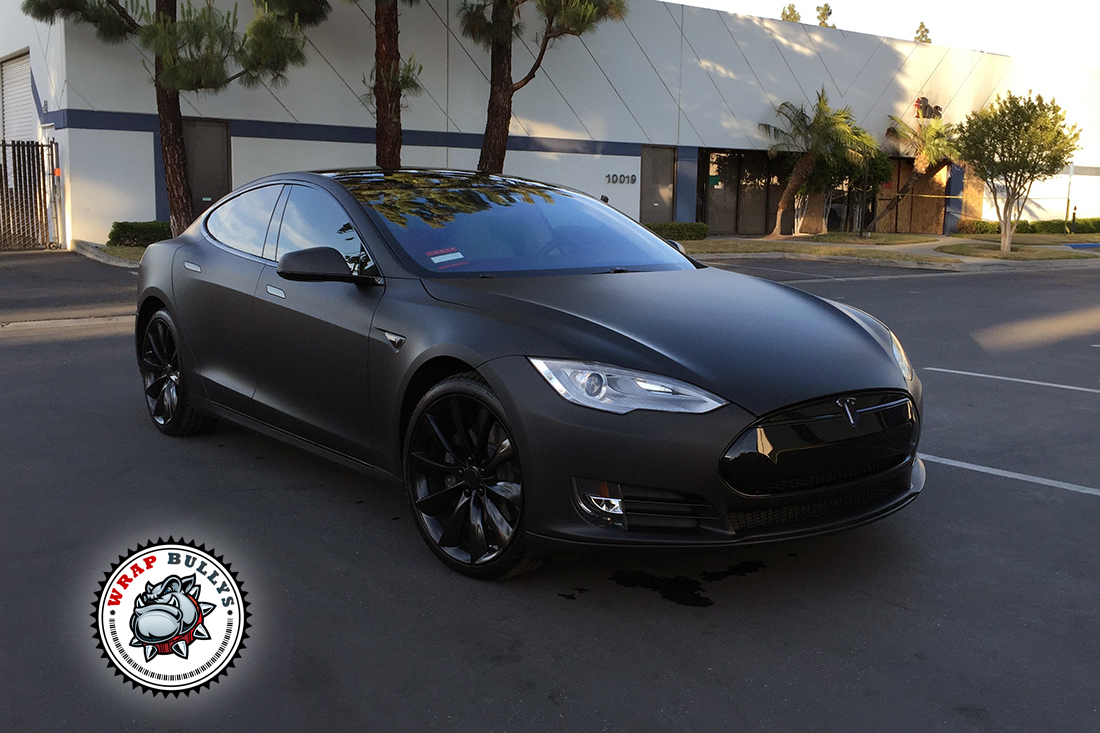Chrome Car Wrap >> Deep Matte Black Tesla Car Wrap | Wrap Bullys