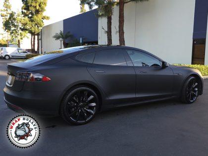 Deep Matte Black Tesla Car Wrap