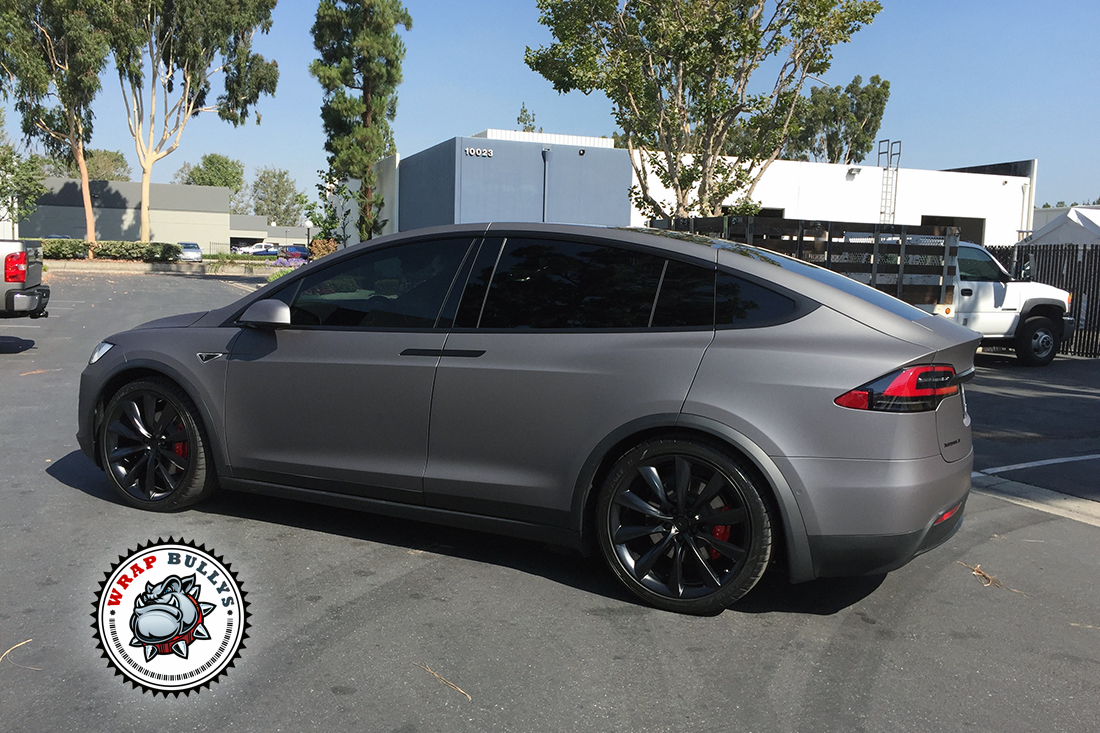 Matte Grey Car >> Tesla X Wrapped In Avery Matte Grey Wrap Bullys