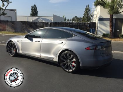 Tesla Car Wrap in 3M Brushed Steel