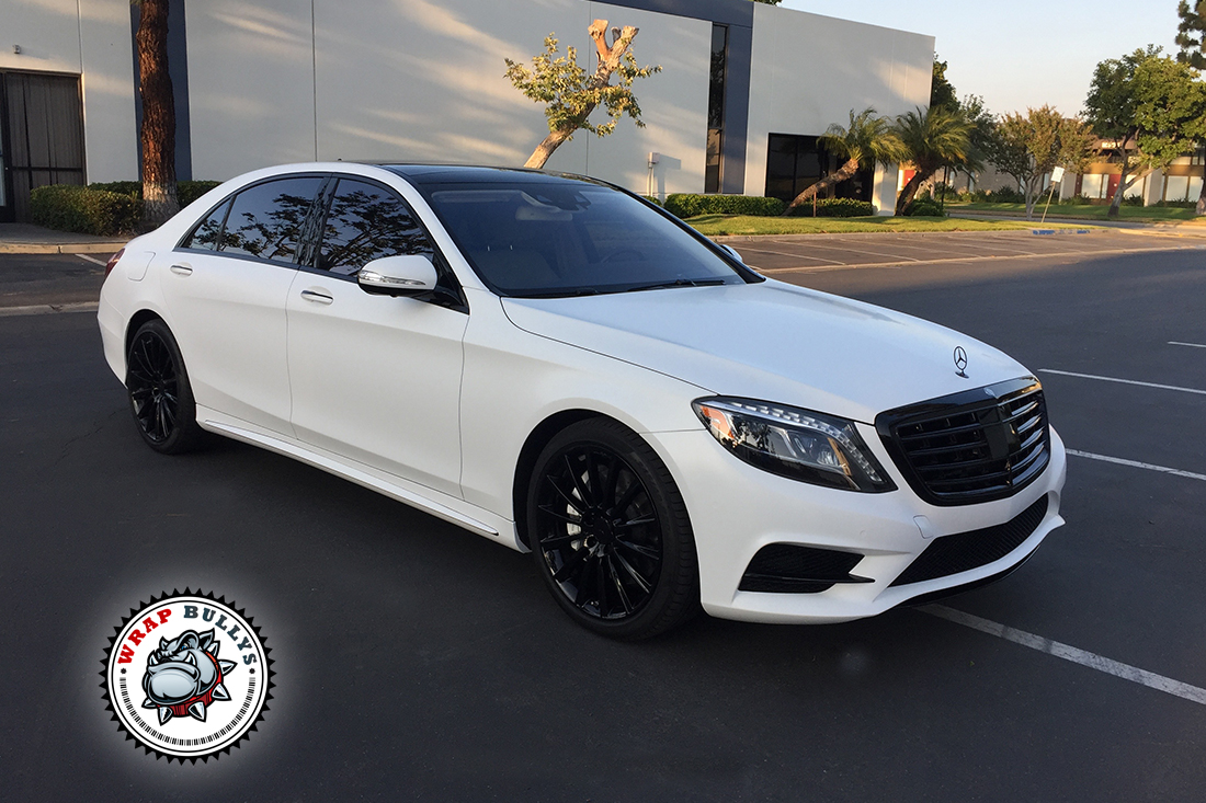 mercedes s550 wrapped in satin white wrap bullys