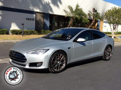 Tesla Wrapped in Satin White Aluminum