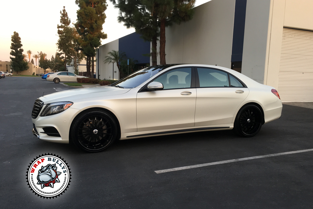 benz 550 wrapped in satin pearl white wrap bullys