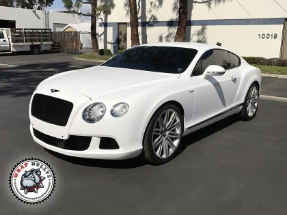 Satin White Bentley Vehicle Wrap