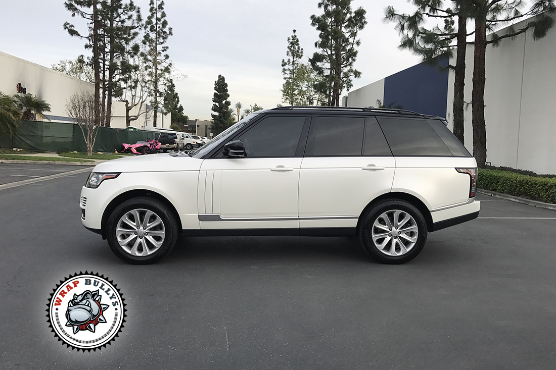 range rover wrapped in avery satin pearl white wrap bullys. Black Bedroom Furniture Sets. Home Design Ideas