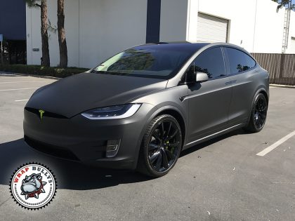 Matte Black Tesla X with Acid Green Accents
