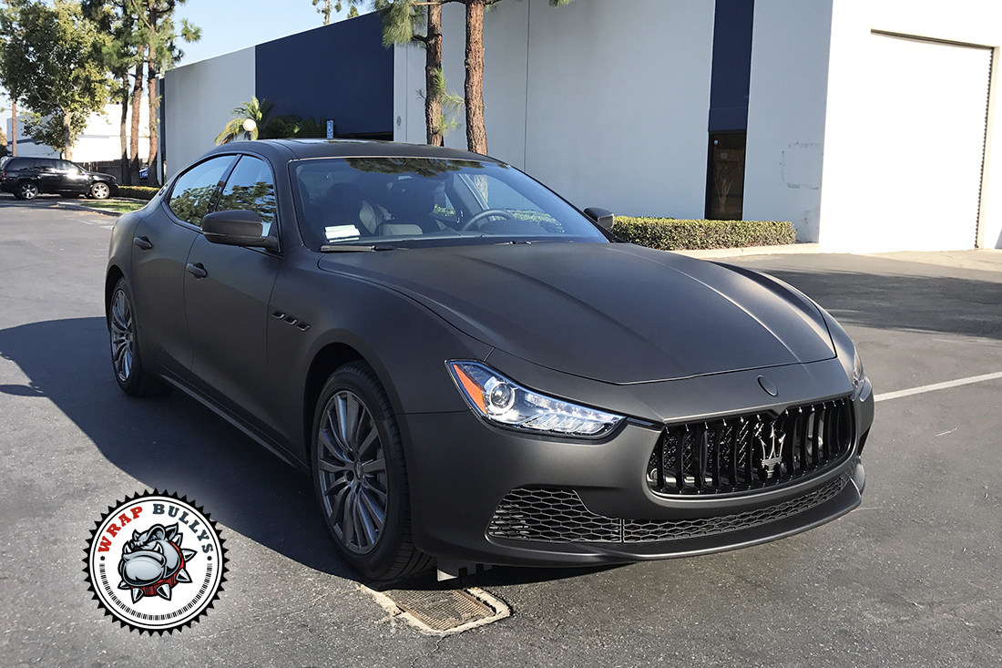 Matte Black Maserati With Silver Accents