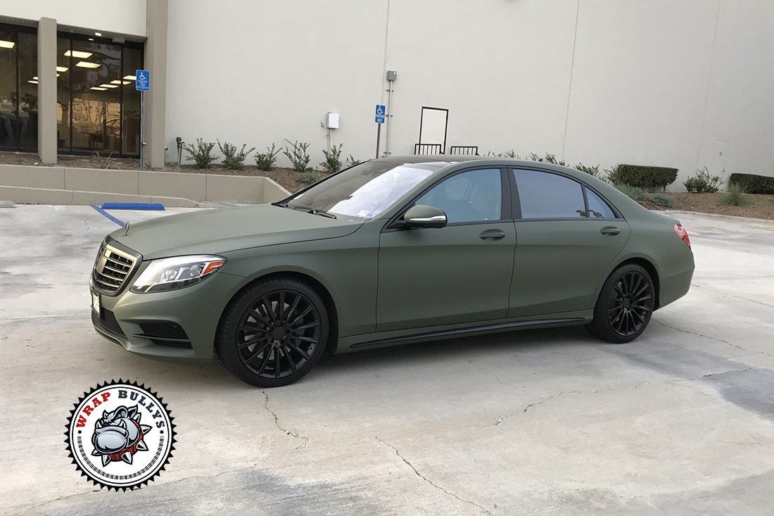 Mercedes benz wrapped in matte military green wrap bullys for Matte mercedes benz