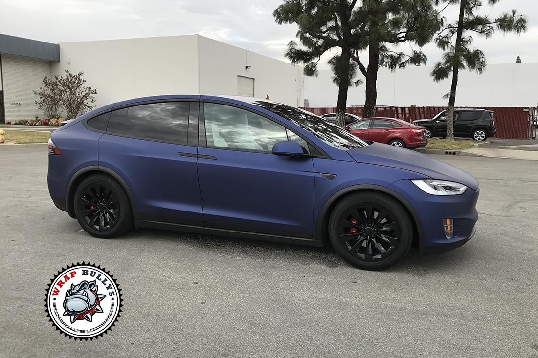 Tesla X Wrapped In Avery Matte Metallic Night Blue Wrap