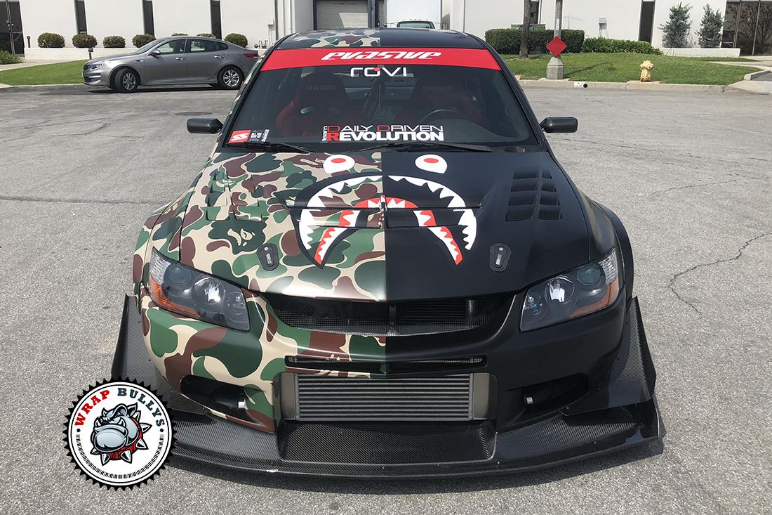 Mitsubishi Evo Custom Camo Wrap Wrap Bullys