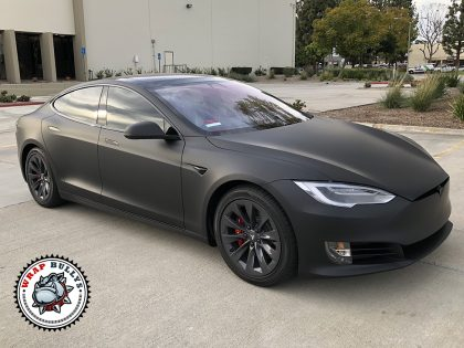 Tesla Model S Deep Mate Black Wrap