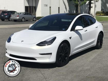 Tesla 3 Wrapped in 3M Satin Frozen Vanilla