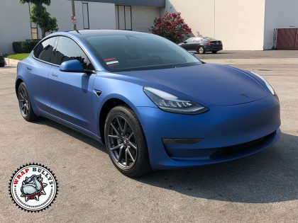 Tesla 3 Wrapped in Avery Matte  Metallic Blue