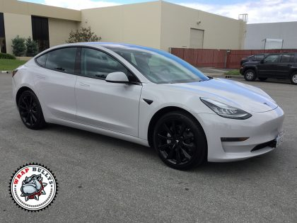 Tesla 3 Wrapped in 3M Gloss Storm Gray